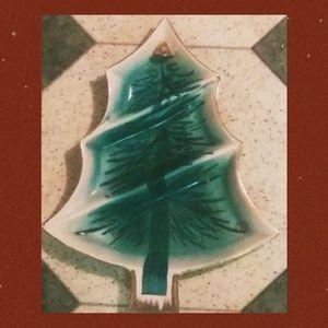 Circa 70's Christmas Tree Candy Dish Ceramic